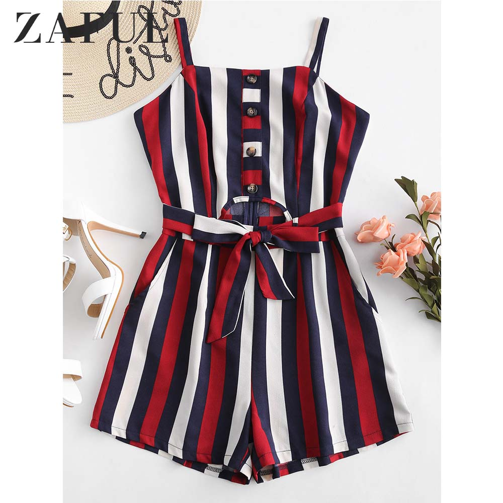 ZAFUL Half Buttoned Striped Cut Out Romper Overalls Summer Pockets Square Collar Sleeveless Belted   Jumpsuit   Women Rompers 2019