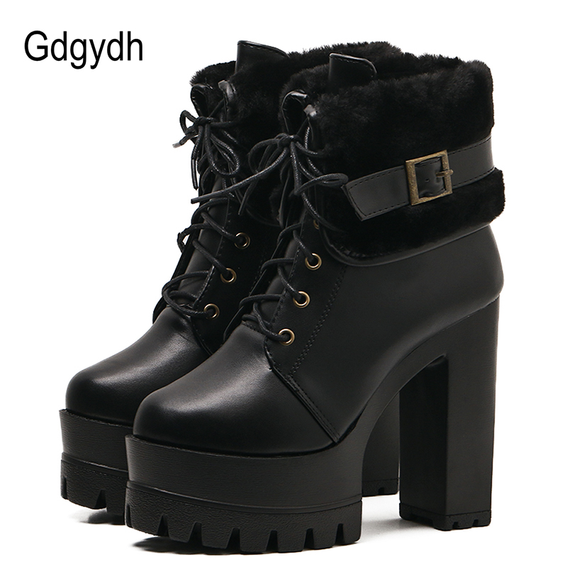 Gdgydh Fashion Buckle Women Ankle Boots For Winter Shoes Thick Heels Cotton Ladies Boots Lacing platform short booties Black high quality custom shop lp jazz hollow body electric guitar vibrato system rosewood fingerboard mahogany body guitar