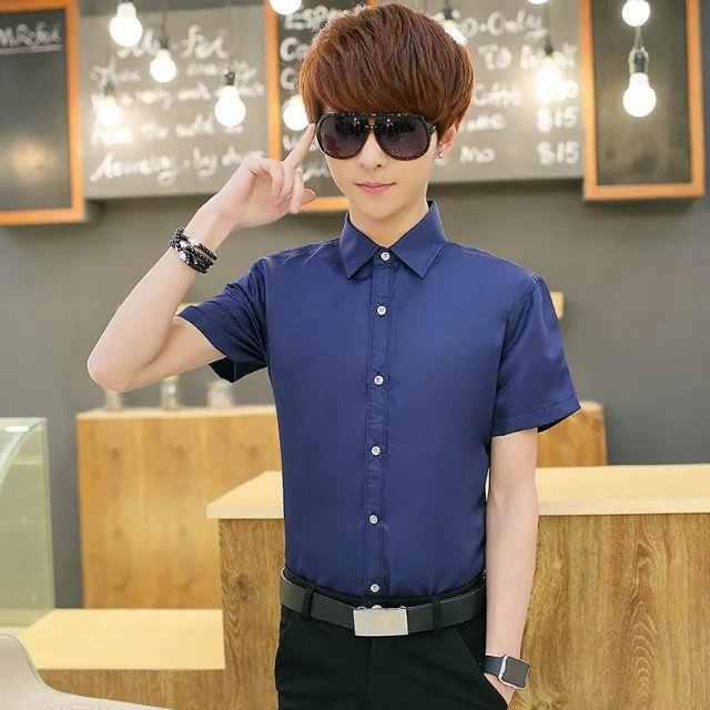 2019 Летняя мужская рубашка с коротким рукавом деловая Повседневная Корейская версия рубашка для похудения Бесплатная горячая тонкая рубашка мужская Молодежная Волна