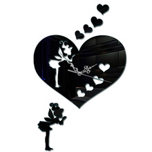 Heart Wall Clock 3D Modern Design Clocks For Home Decor Diy Mirror Acrylic Stickers Watch