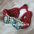 Bb-182 tibetanos red mini granos pulsera tennia, encantos de bronce de Nepal brazalete, joyería hechos a mano étnica