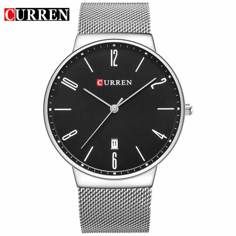 CURREN Mens Watches Top Brand Luxury Stainless Steel Quartz Men Watch Men's Fashion Business Wristwatch Clock Relogio Masculino цена