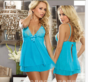 Women Exotic Apparel Erotic Sexy Intimates Lingerie Lace Spaghetti Strap V-Neck Plus Large Size Night Dress lenceria BC01