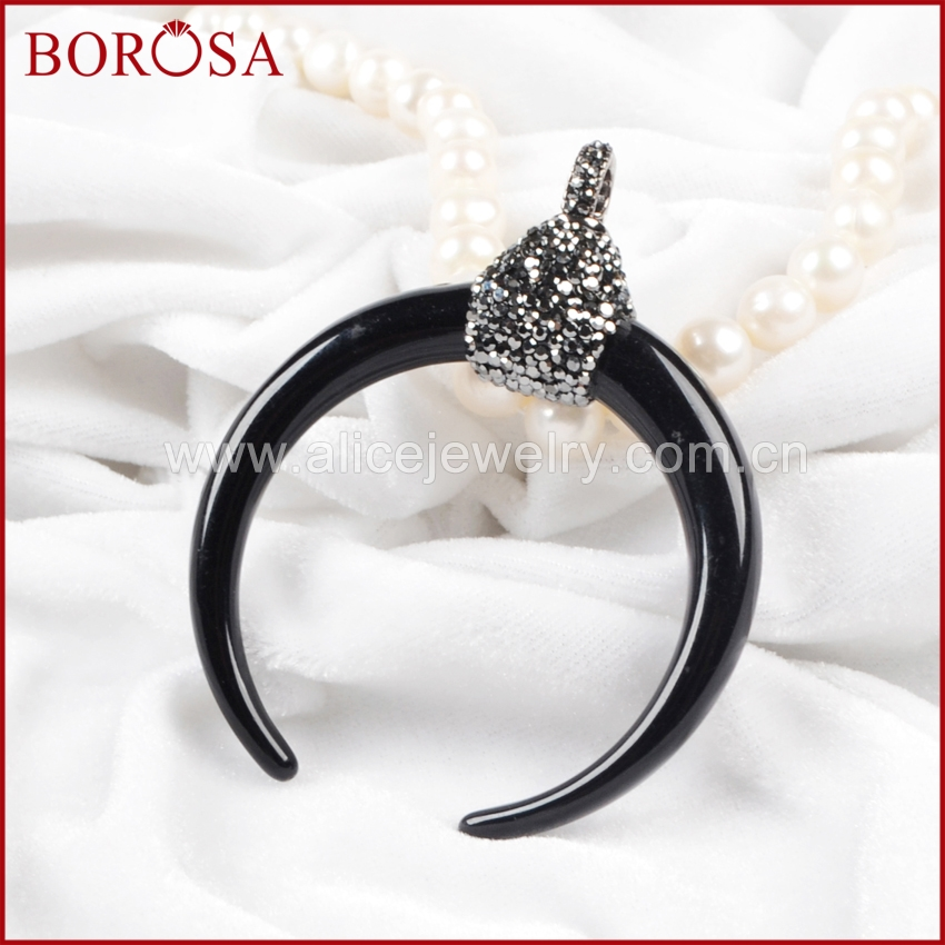 BOROSA 5pcs Druzy  Big Size Silver Color Tribal Ox Horn Black Crystal Pendant Paved Zircon  JAB271 Drusy Jewelry Free Shipping