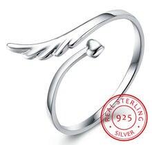 Женское кольцо с крыльями ангела открытое простого дизайна из