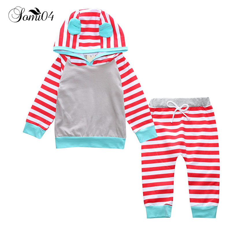 2 Pcs Set Spring 2018 Baby Toddler Boys Girl Long Sleeve Hooded Tops Sweatshirt + Striped Pants Outfits Infant Kids Cute Clothes 2pcs children outfit clothes kids baby girl off shoulder cotton ruffled sleeve tops striped t shirt blue denim jeans sunsuit set