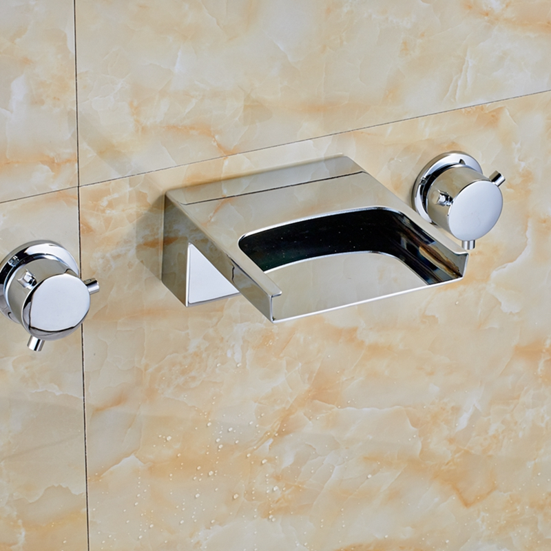 ФОТО Modern Square Waterfall Chrome Brass Bathroom Faucet Tub Spout Dual Handles Tap