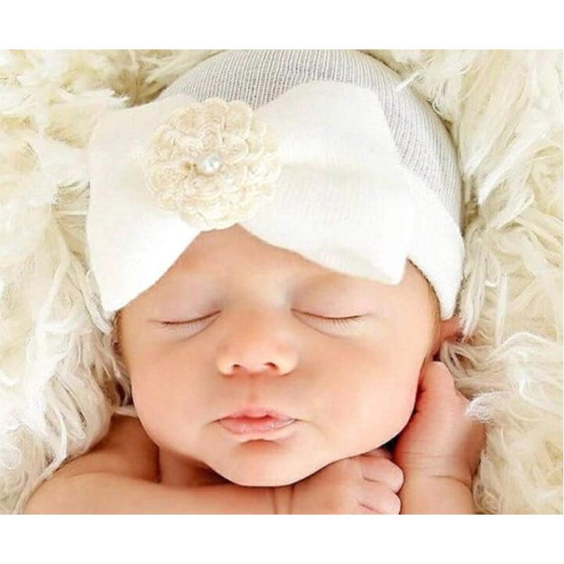 ideacherry Cute Bowknot Newborn Hats Spring Autumn Baby Warm Hat Flower Toddler Girl Caps Fashion Cotton Beanie Hat 0-6 Months