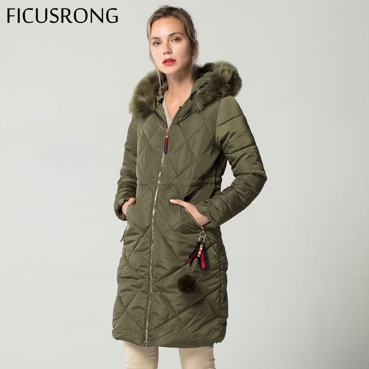 FICUSRONG New Solid Big Fur Winter Coat Thickened   Parkas   For Women Stitching Slim Long Warm Winter Coat Ladies Park Jacket Women