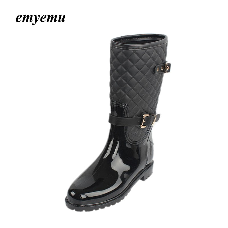 Spring Autumn Women rainboots New Fashion Rain Mid-calf Rubber Boots Shoes Female Waterproof rian boots double buckle cross straps mid calf boots