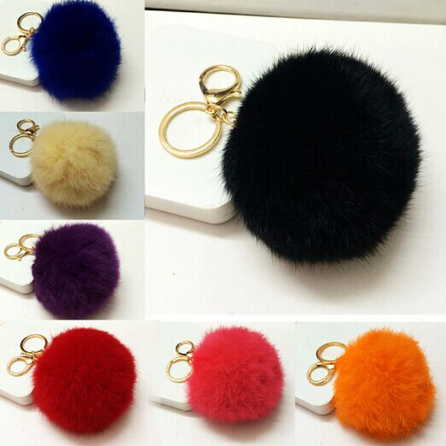 Rabbit fur ball keychain/new 2015 korean luxury jewelry bag accessories charm/chaveiro/llaveros/porte clef/trinket for keys