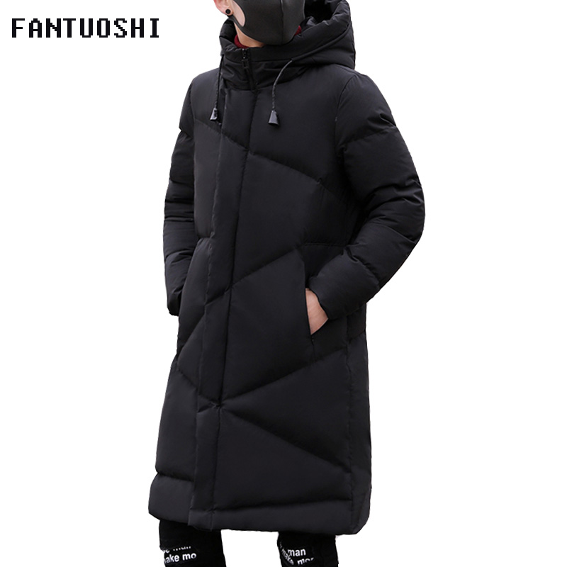 Fashion Winter Jacket Men brand clothing 2018 New   Parka   Men Thick Warm Long Coats Men High quality Hooded jacket black 5XL