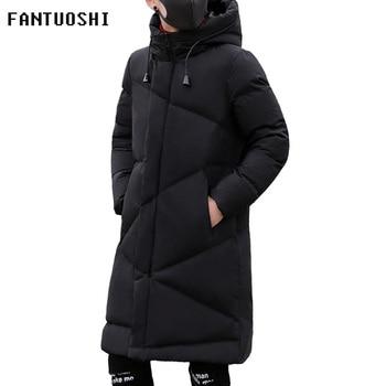 5bd0b7b231c36 Moda Kış Ceket Erkekler marka giyim 2018 Yeni Parka Erkekler Kalın Sıcak  Uzun Palto Erkekler Yüksek kaliteli Kapüşonlu ceket siyah 5XL