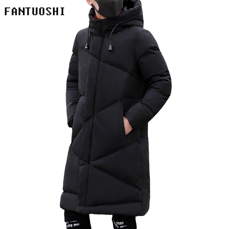 Mode Hiver Veste Hommes marque vêtements 2018 Nouvelle Parka Hommes Épais Chaud Manteaux Longs Hommes de Haute qualité veste À Capuche noir 5XL