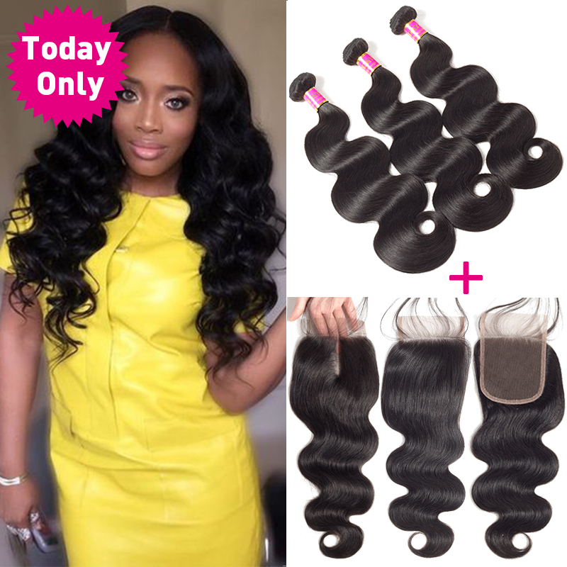 [TODAY ONLY] Peruvian Body Wave 3 Bundles With Closure Remy Human Hair Bundles With Closure Peruvian Hair Bundles With Closure
