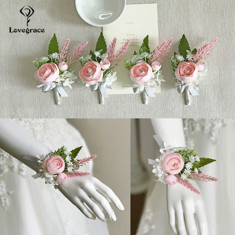 pink roses bridal Wrist corsages bracelet wedding flowers  (5)