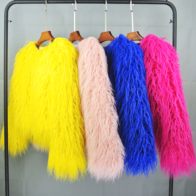 ZADORIN Colorful Boho Furry Faux Fur Coat Plus Size Women Fur Coats Autumn Winter Pink Faux Fur Shaggy Jacket Fourrure Bontjas