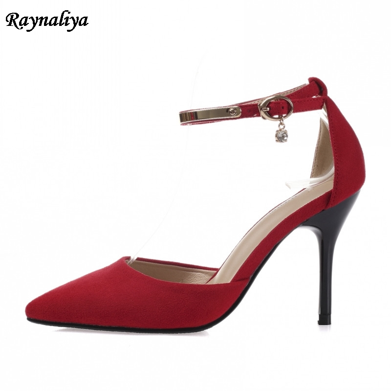 Ankle Strap Sandals Summer Women Sweet Shoes Pointed Toe High Heels Party Dress Sandal Big Size Red Pink 5CM 7CM 9CM XZL A0034 in High Heels from Shoes