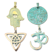 4 Style 2pcs/lot Antique Greek Gold OM, Evil Palm, Triangle Knot, Dragonfly, Pendant Jewlery Findings