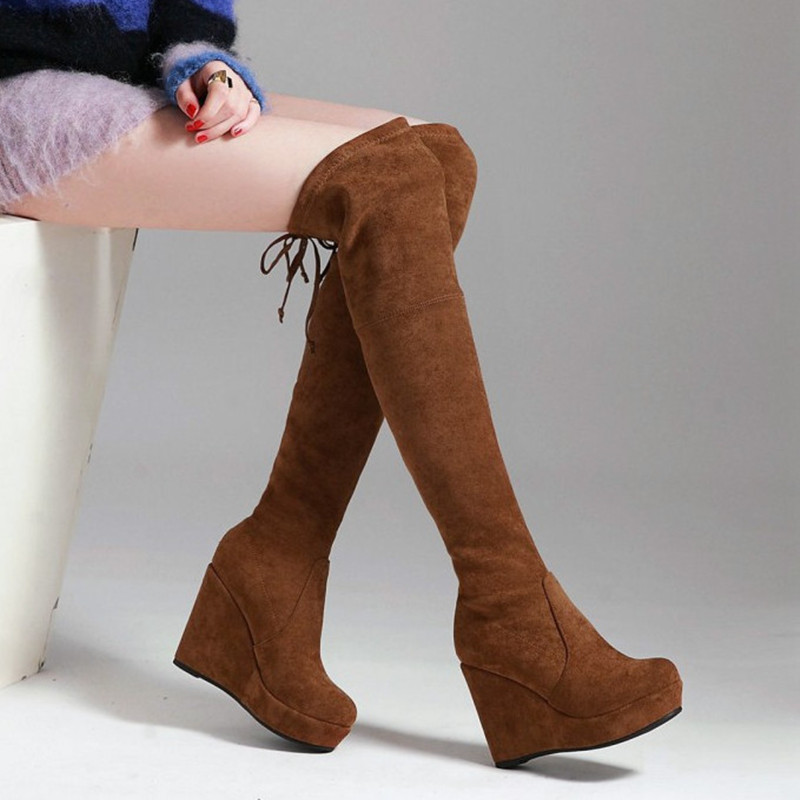 New Winter Shoes Women Over The Knee Boots Sexy High Heels Comfortable Wedge Shoes Women Long Boots Platform Shoes Pumps