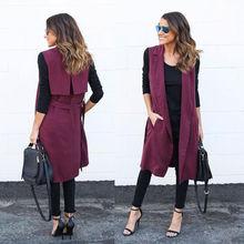 2016 autumn new fashion long pockets turn-down collar open stitch sleeveless pantone green red beige black blazer vest jackets