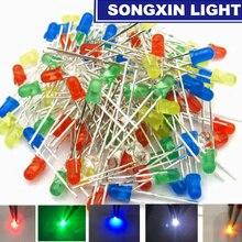 100 шт./лот, 5 цветов, F3, 3 мм, круглый светодиодный комплект, Ультраяркий рассеянный зеленый/желтый/синий/белый/красный светильник, светодиод