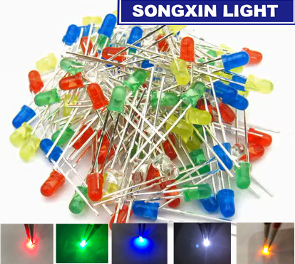 Diffused 2pin Round Color White//Red//Yellow//Green//Blue Kit Box KINYOOO 500 x Pcs 3mm Light Emitting Diode 5 colors x 100pcs