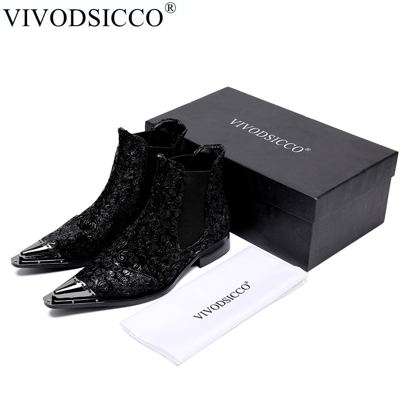 VIVODSICCO Fashion Men Boots Leather Italian Black Luxury Fashion Casual Ankle Boots Men Shoes Male For Wedding Business men autumn winter genuine leather italian black luxury fashion casual plush ankle boots mens shoes male for wedding business 09
