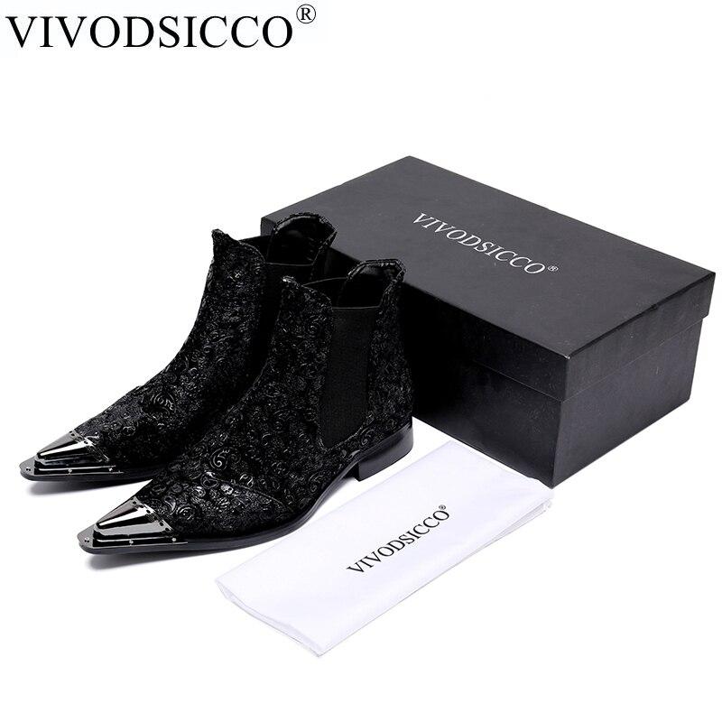 87745434708243 Noir Luxe Chaussures Cuir Hommes Bottes Vivodsicco Le Pour Mâle En Mariage  De Décontracté Italien D'affaires ...