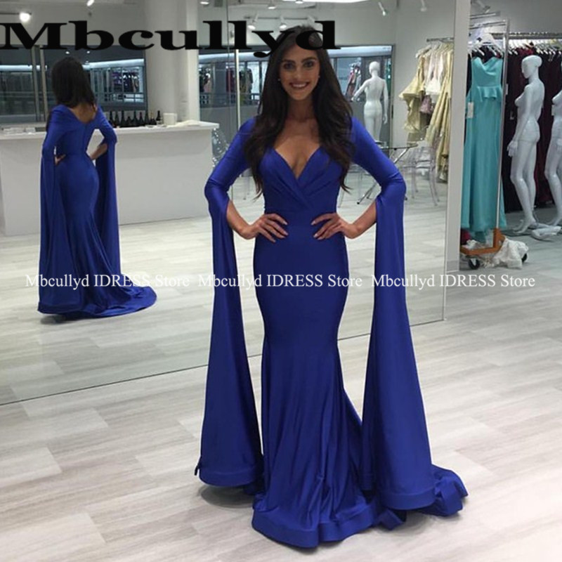 Royal Blue Mermaid African   Prom     Dresses   Long Sleeves 2019 Sexy V Neck Vestido De Festa Black Girls Formal Evening Party Gowns