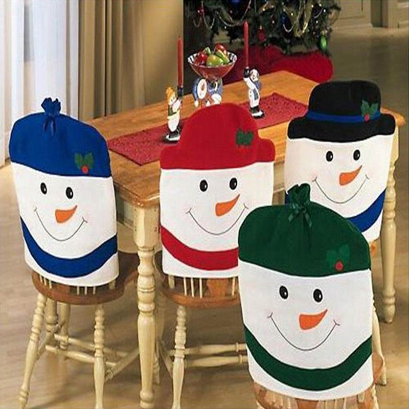 4pcs Santa Clause Red Hat Chair Cover Christmas decorations for home Dinner Table Party Decoration navidad Chair Back Cover