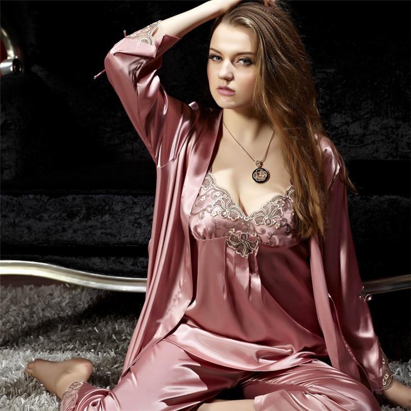 Xifenni Pajama Sets Female Sexy Satin Silk Sleepwear Women Lace Embroidery Pyjamas Three-Piece Faux SILK Home Clothing 8306