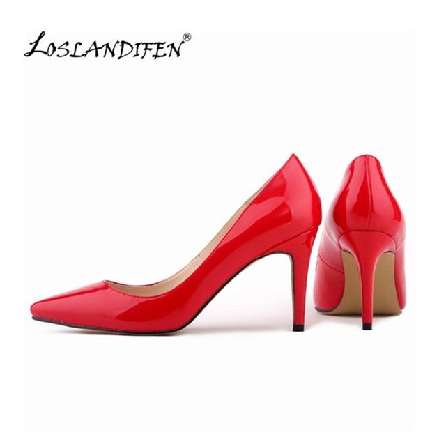 f3835e617c5b LOSLANDIFEN Women Pumps Red Bottom Shoes Patent Leather Wedding Pointed Toe  8cm   11cm High Heels Shoes Work Pumps Count Shoes