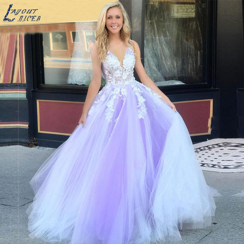 AE1228 New Lace Appliques Lavender V Neck Tulle A Line Evening Dresses Party Prom Dresses Formal