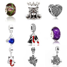 Btuamb Vintage Ethnic Hamsa Hand Love Heart Star Owl Crystal Beads Fit Pandora Bracelet & Bangle Gift DIY Charm Maxi Jewelry(China)
