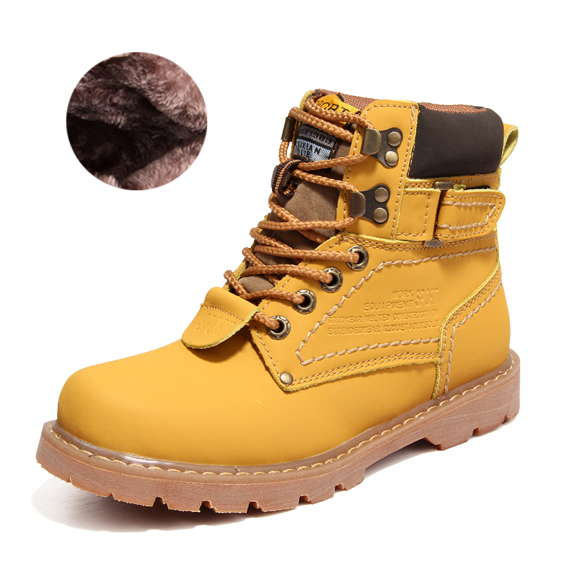 Men's Boots High Quality Warm Fur Winter Boots Work Leather Shoes Fashion snow Ankle Boot Men Shoes Autumn Botas Hombre new high quality pu leather winter boots men fashion warm cotton brand ankle boots shoes men for spring autumn winter shoes