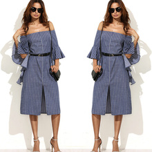 2017 Spring Autumn Women maxi OL work Denim Dress striped office falbala Flat Shouders Elegant leisureJean slim vestivos Dresses
