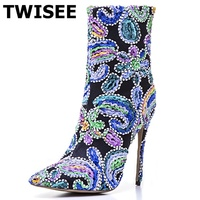 TWISEE Embroide High Heel Shoes Women Elastic Band Ankle Boots Pointed Toe Platform Ladies Fashion Floral Boot Plus Size 34 43