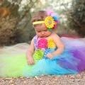 Rainbow Baby Girls Fancy Tutu Dress Holiday Flower Fluffy Baby Dress with Headband 1st Birthday Photo Costume TS092