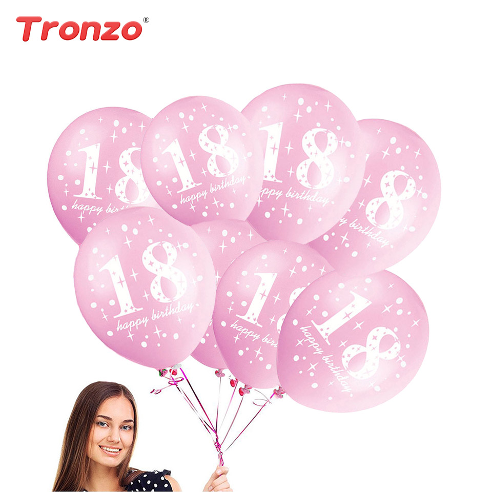 Pink Happy 18th Birthday Balloon: Tronzo 18th Birthday Balloon 10pcs Pink/Black Happy