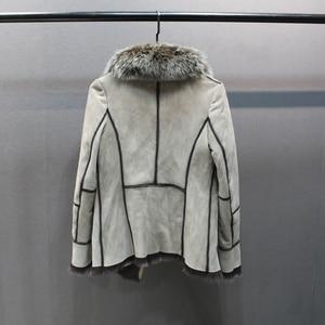 Image 4 - 100% hakiki koyun derisi deri kürk ceket tilki kürk yaka ince stilleri moda kadın sonbahar cilt ve kuzu koyun kürk ceket