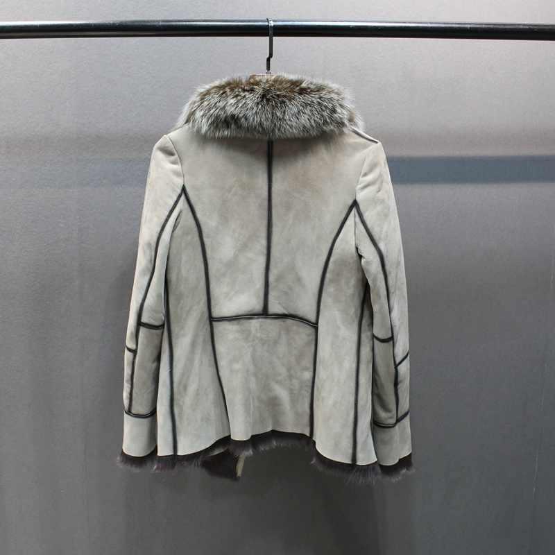 100% Натуральная овечья кожа с меховым пальто с лисьим меховым воротником тонкие стильные модные женские осенние кожаные и овечка Меховая куртка
