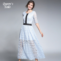 Queen S Tailo New Early Autumn Woman S Lace Midi Dress Half Sleeve Ladies Elegant A