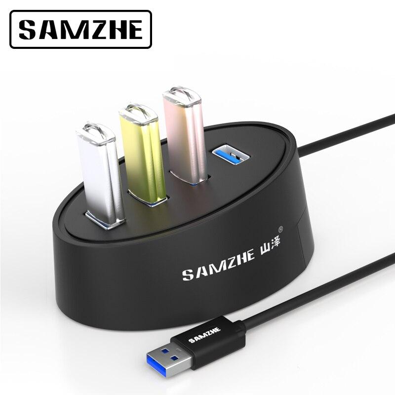 SAMZHE Super Speed USB 3,0 HUB de 4 puertos Combo Splitter HUB de escritorio de extensión USB para PC ordenador portátil