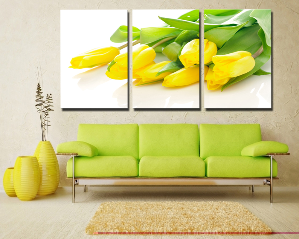 3 Pieces Modern Yellow Tulips Bright dripping Large Canvas Wall art ...