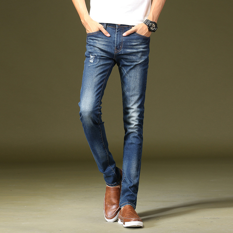 Men Jeans Business Casual Straight Slim Fit Blue Jeans Stretch Denim Pants Trousers Classic Young Man