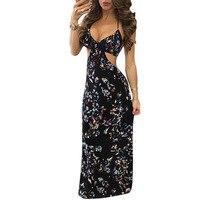 YENI Kulübü Bandaj Elbise Moda Dijital Baskı Kolsuz Asılı Boyun Seksi Çiçek Elbise S-3XL Çiçek Baskı Elbiseler 2017