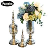 PEANDIM ваза конфеты банку Desktop вазы, бронза Цвет свечи стоят Свадебные Tall Стекло вазы, украшения дома, подарки, украшения