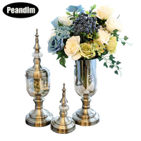 PEANDIM Flower Vase Candy Jar Desktop Vases Bronze Color Candle Stand Wedding Tall Glass Vases Decoration Home Decoration Gifts