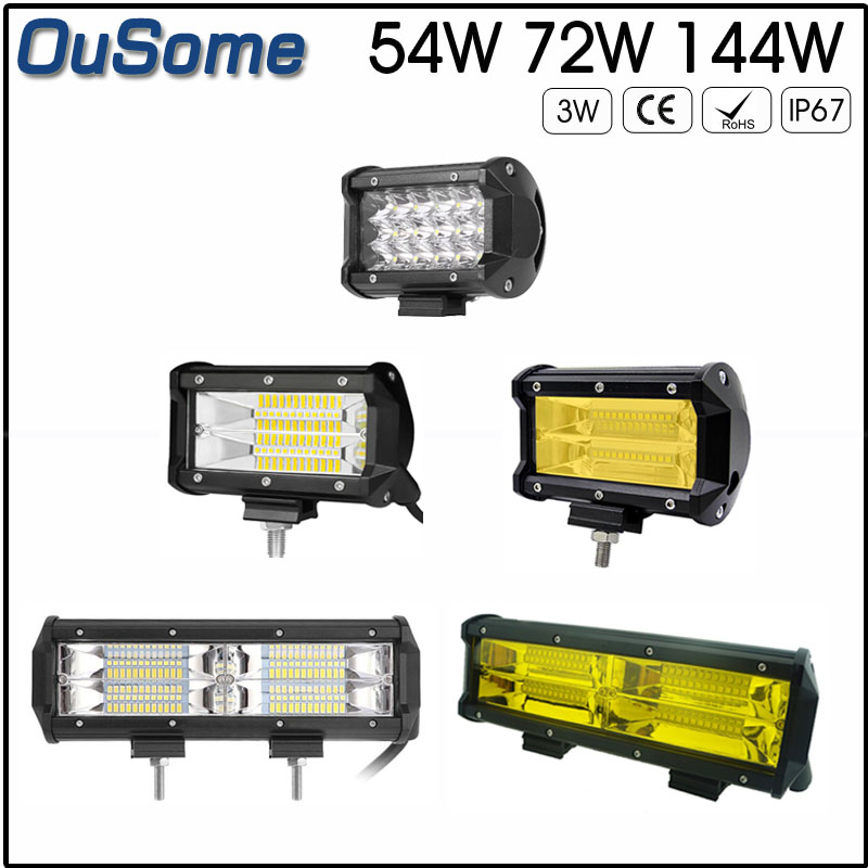 2 pieces 5 54W 5.5 72W 8.5 144W high power IP67 waterproof 4300K 6500K 10-30V DC offroad car led work light amber 12v 24v